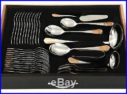 72 PCS Flatware Set 18/10 Stainless Silverware, 24K Gold plated Service for 12