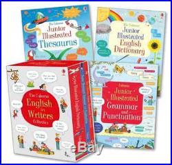 NEW Usborne English for Writers 3 Books Box Set Dictionary Thesaurus Grammar